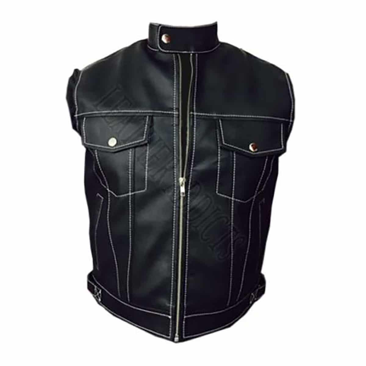 Mens Real Cow Leather Black Motorcycle Biker Style Vest Leather Waistcoat