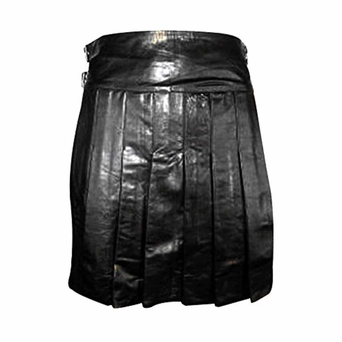 Front Fastening Real Mens Black Cow Leather LARP Hand Made Kilt