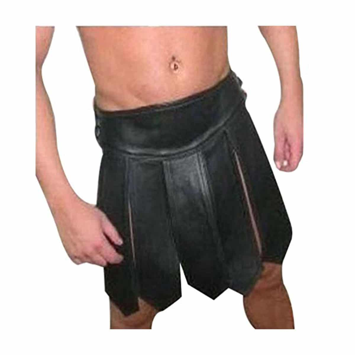 Men Kilt And Sporran REAL Black Brown LEATHER Pleated Utility