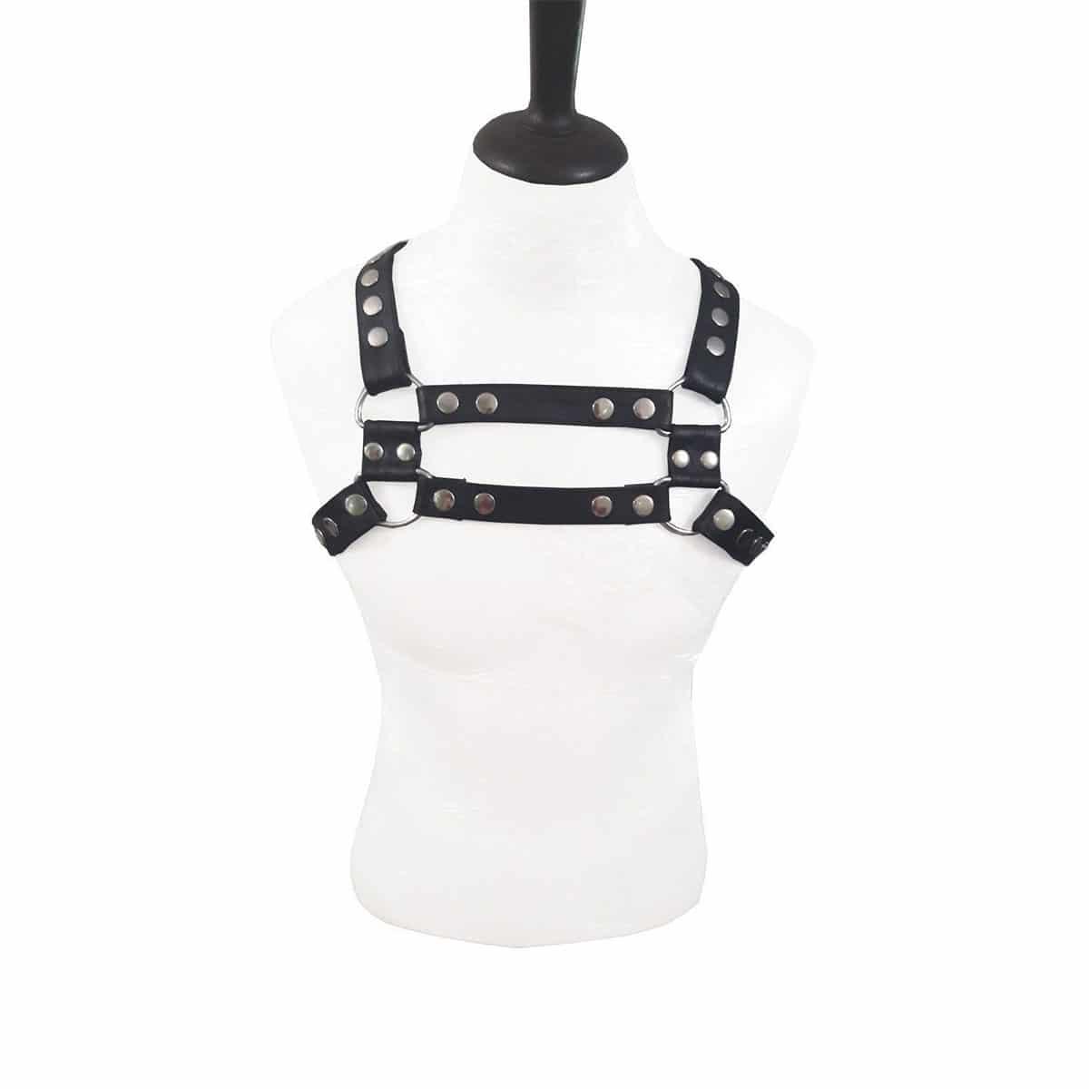 Mens bondage Male Harness Real BLACK Leather heavy duty LARP