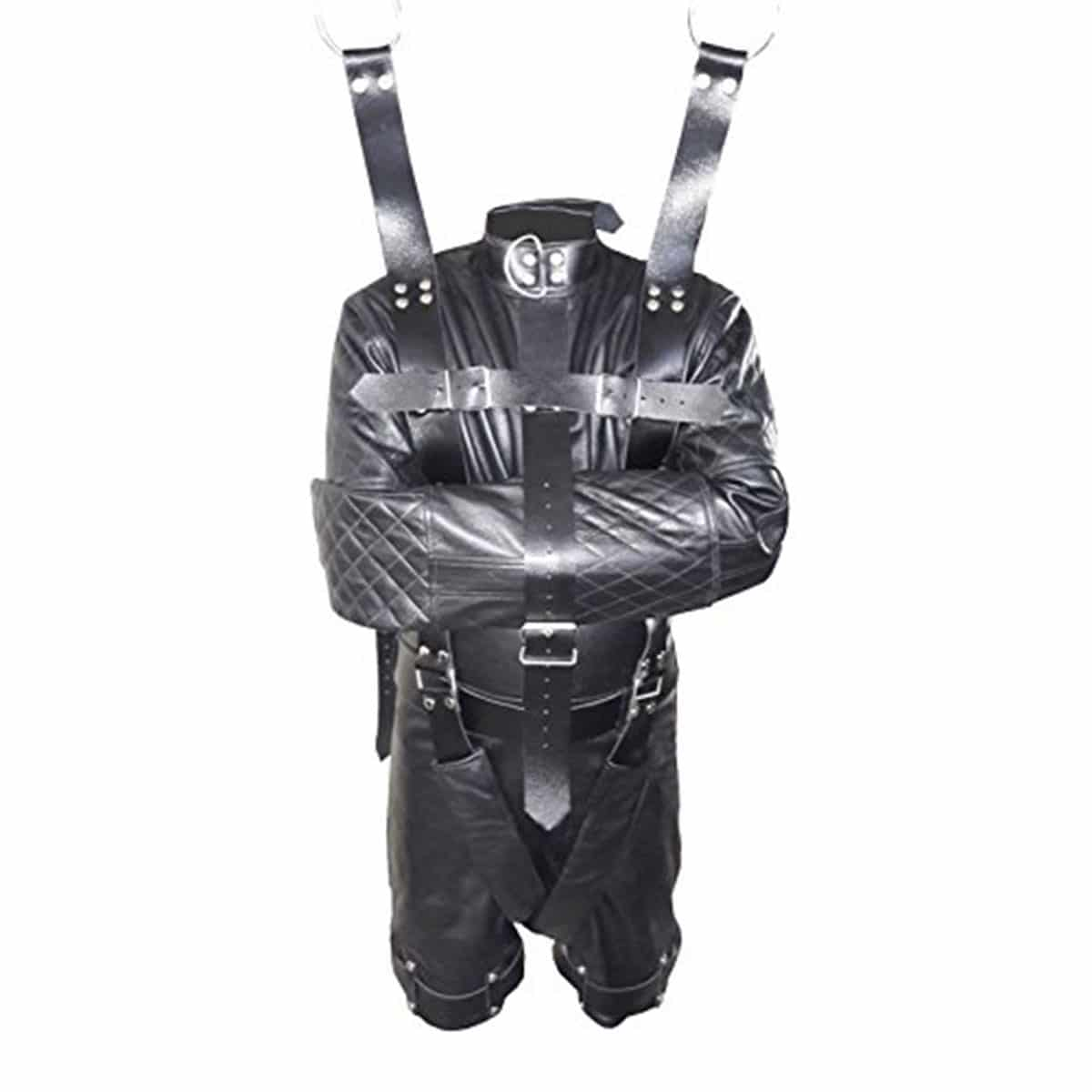 Mens real leather catsuit two way zip black leder lined fitted fetish luxurena leather