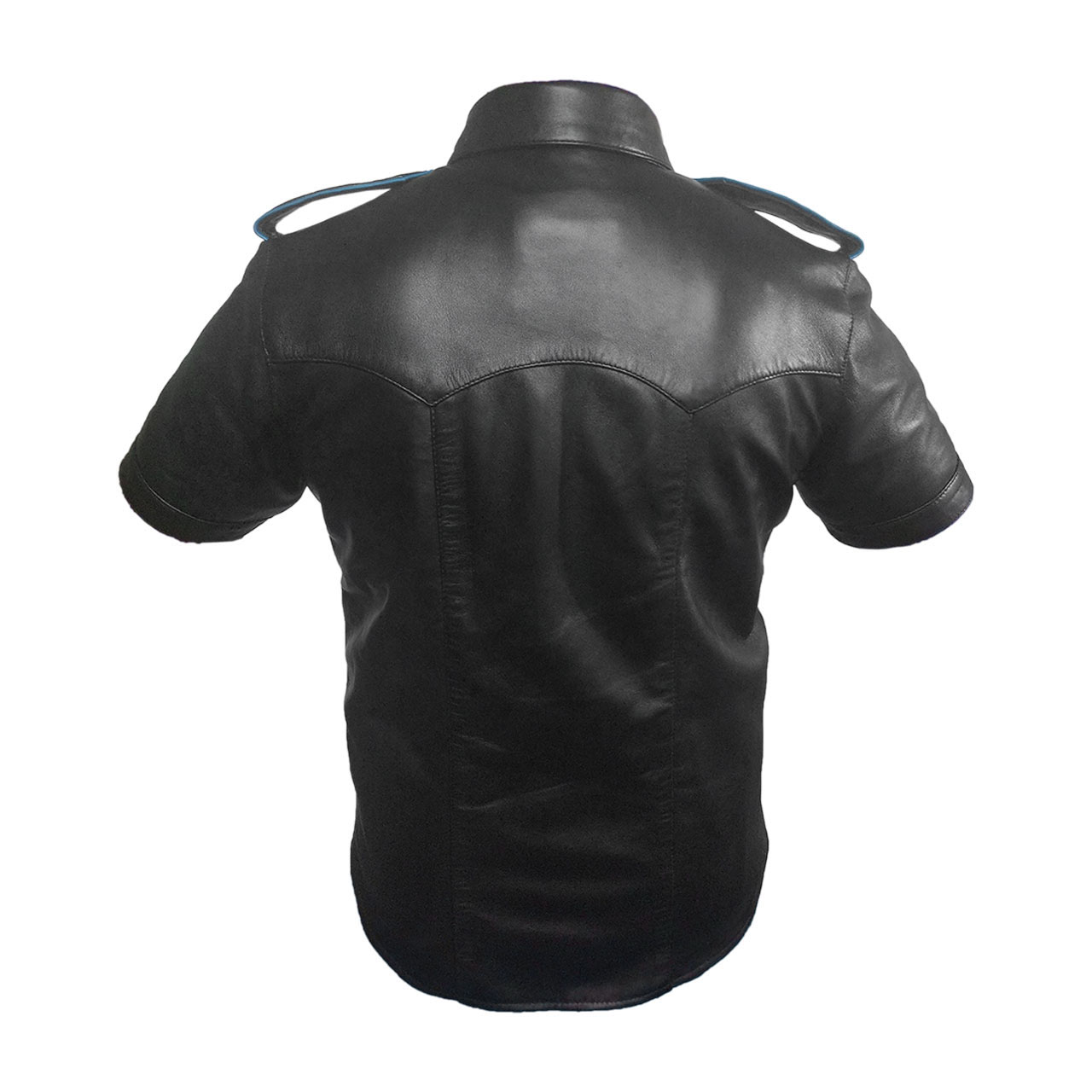 REAL LEATHER Mens Black Brown Police Military Style Shirt BLUF Most Sizes