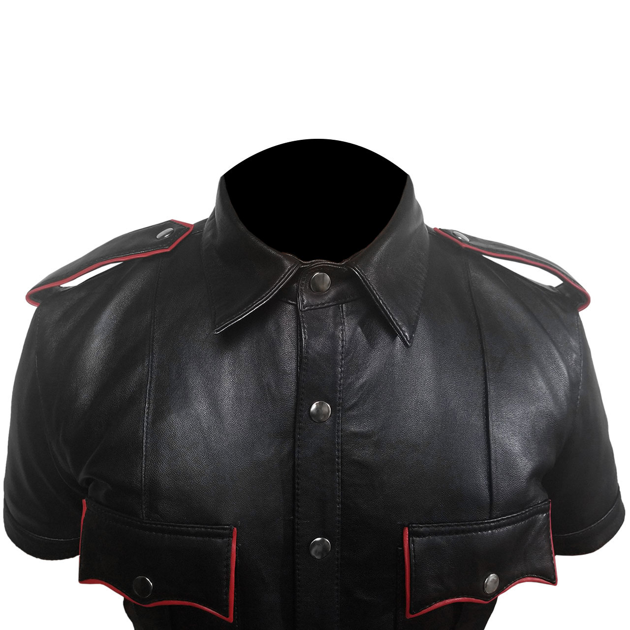 Mens Black and Red Sheep or Cow Leather Police Uniform Shirt Cop Leather Shirt