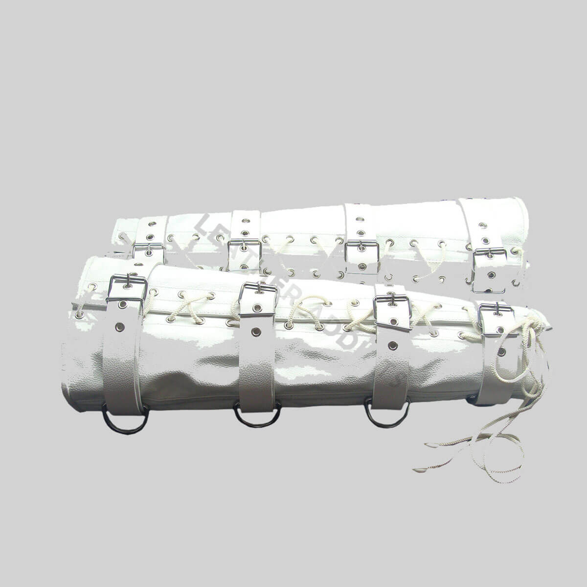 Set Of 4 WHITE Leather Arm & Leg Binders