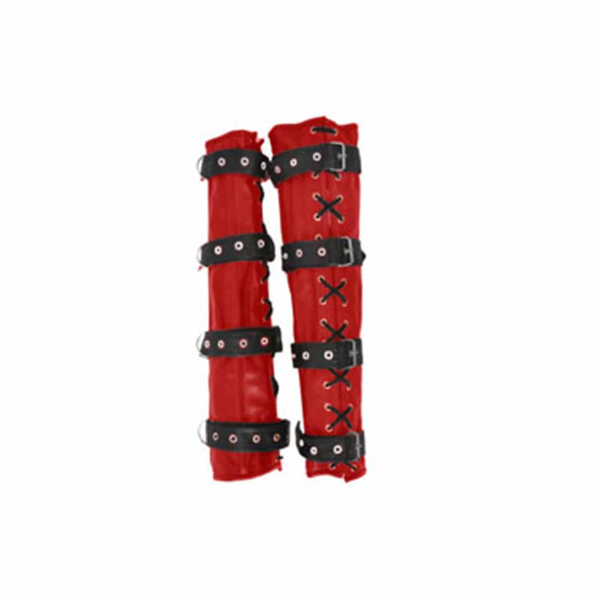 Sexy Red & Black Set Of 4 REAL Leather Bondage Arm & Leg