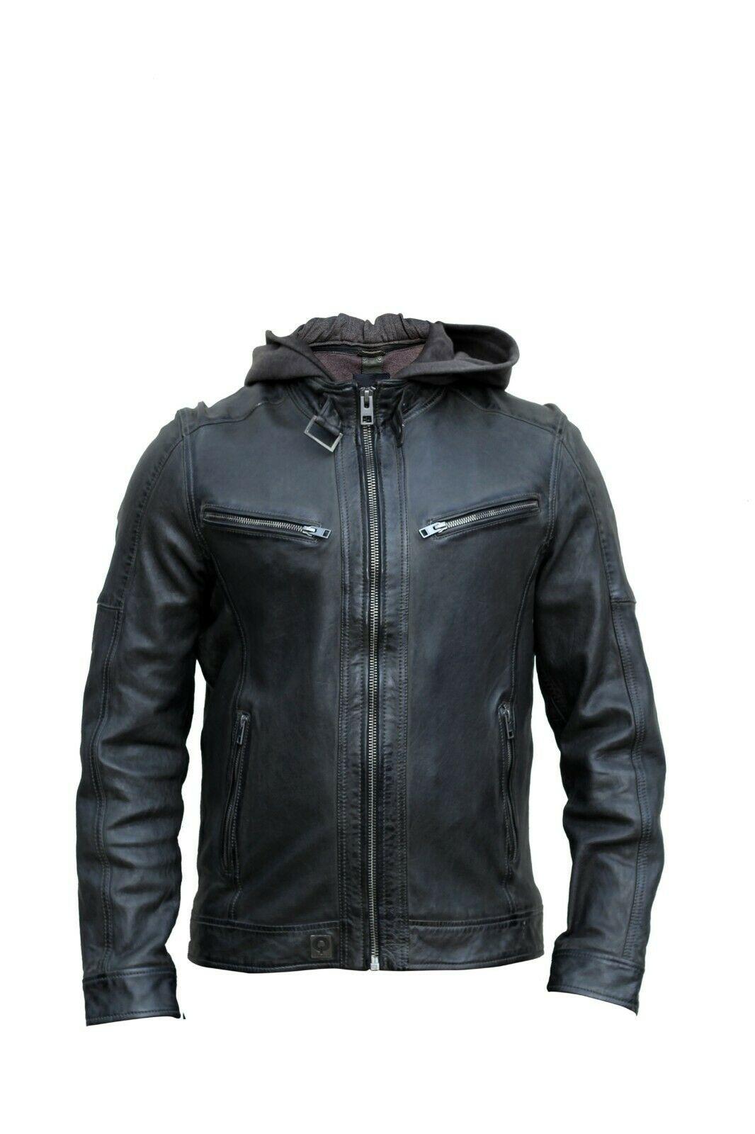 Men Navy Blue Sheep Leather Slim Fit Biker Jacket Casual Outwear LCM11